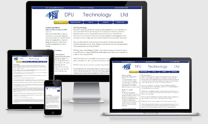 a fluid, responsive website by Sibra for DFU Technology Ltd