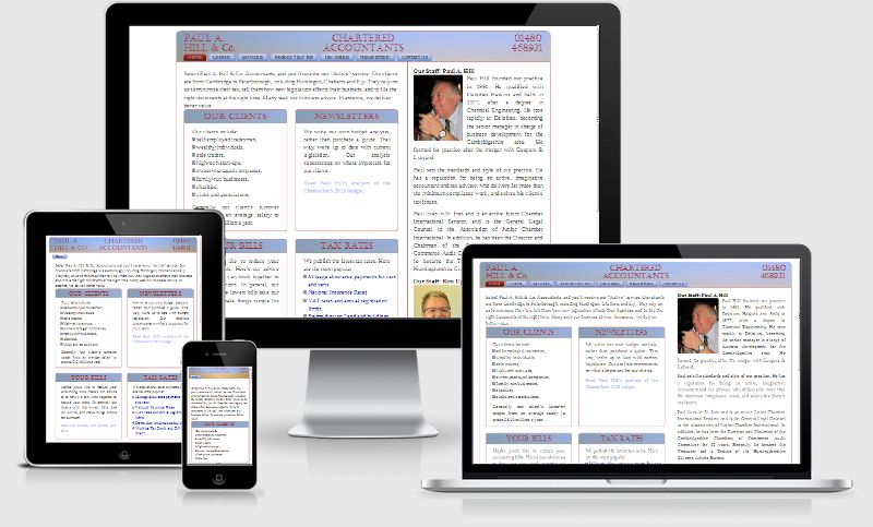 a fluid, responsive website by Sibra for Paul A Hill Chartered Accountants